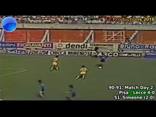 г., Пиза 4:0 Лечче, дебютный гол Диего Симеоне в Серии А.  По итогам сезона 90/91 оба клуба вылетели в Серию Б.