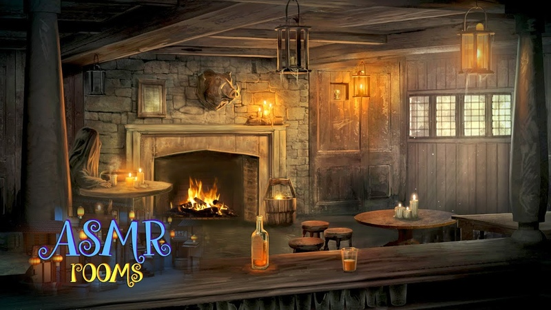 Harry Potter Inspired Hog's Head Inn Wizarding Village and Pub Ambience Fireplace Rain 1 Hour