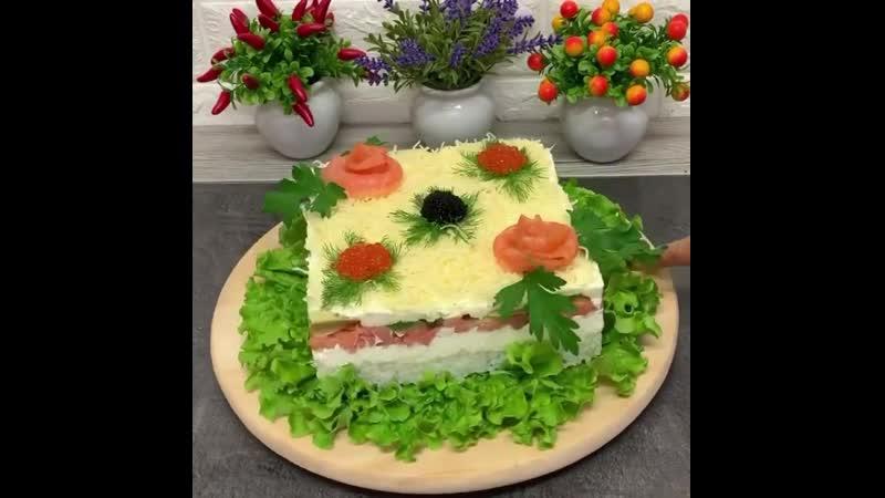 Салат с сёмгой и рисом😋👌🏼