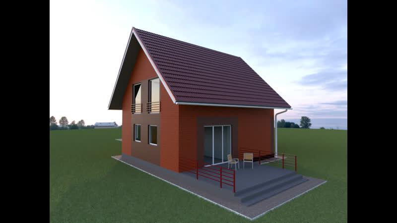 Визуализация дома «Юпитер» 100 кв.м с кирпичным фасадом.