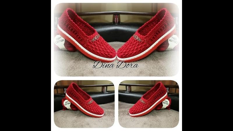 Pantofi rosii crosetati partea2