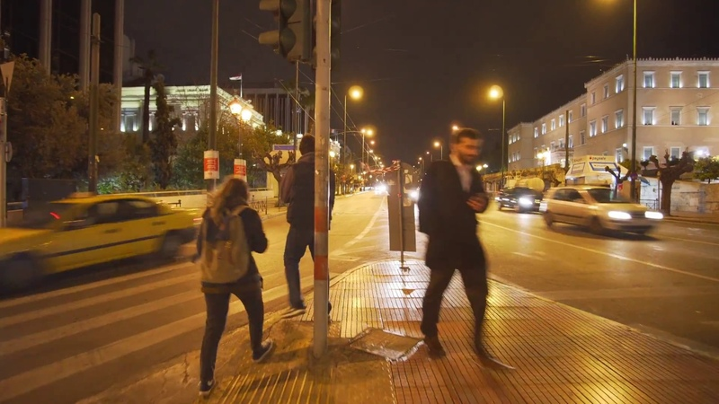 Greece, Athens, night walk from hotel Myrto to Academias 69, 1X elevator