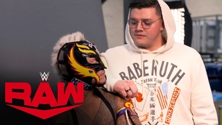 Rey Mysterio is photographed with U.S. Title: Raw Exclusive, Nov. 25, 2019