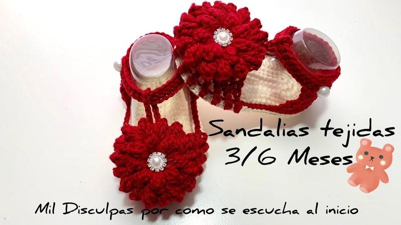 Sandalias Tejidas A Crochet 3 6 Meses Paso a Paso Crochet Baby Sandals
