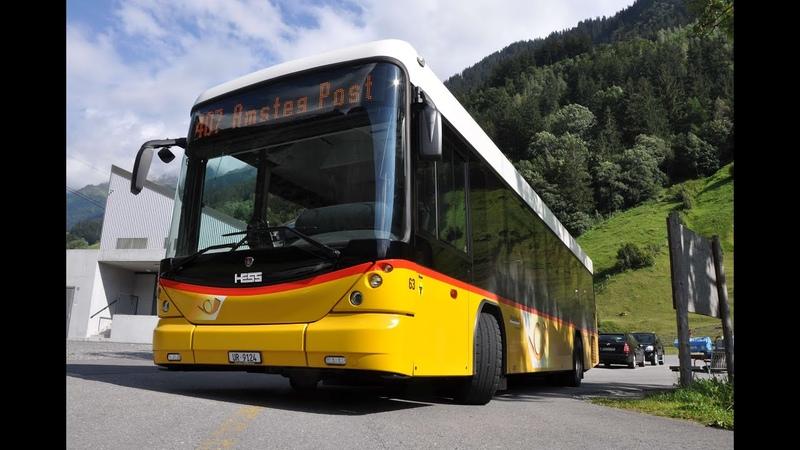 Mit dem Bus durch die Berge Schweizer Postbus auf der Bristenstrasse und Alpenblick