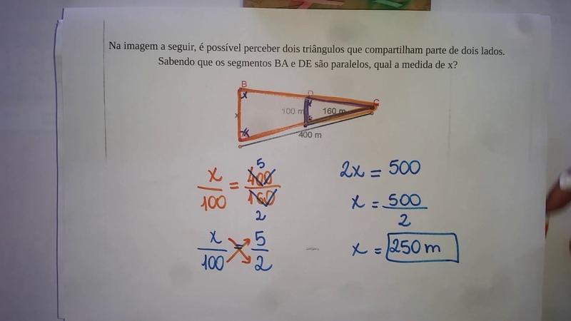 Semelhança de triângulos- ex1 - Professora Edna