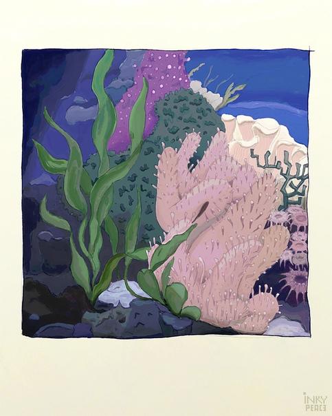 underwater painting seaweed - 736×920