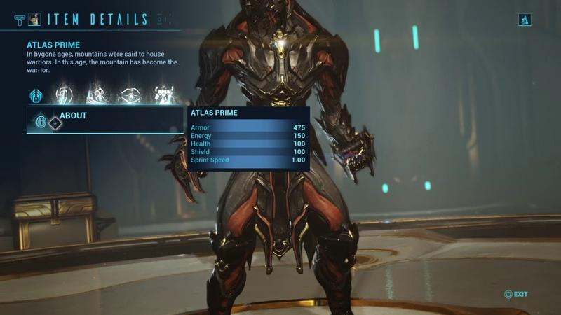 Warframe Atlas prime leaked stats