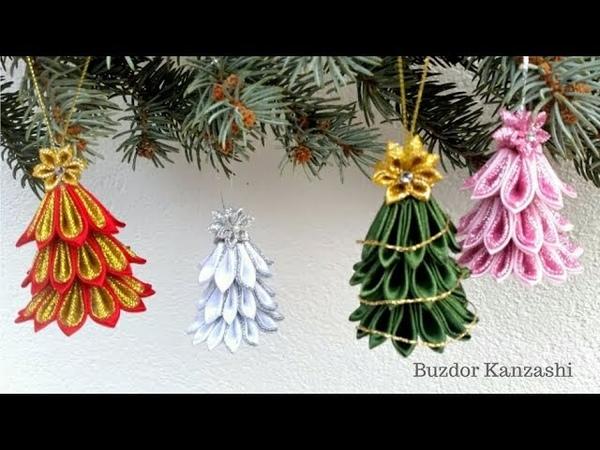 DIY Kanzashi karácsonyi fenyő függődísz How to make kanzashi Christmas tree ornaments
