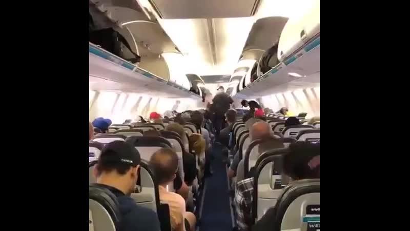 Пассажиры канадской авиакомпании спокойно ждут своей очереди на выход из самолета