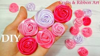 DIY Ribbon Roses 🌹 Amazing Ribbon Flower Work/ Easy Flower Making/ Ribbon Tricks/ DIY Kanzashi #9