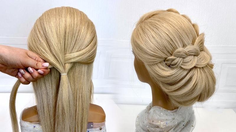 Легкая прическа на средние волосы Красивые прически пошагово Низкий пучок