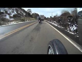 Harley Davidson snow on the road