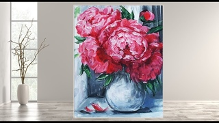 How to Paint a Peony Acrylics /Step by Step / MariArtHome