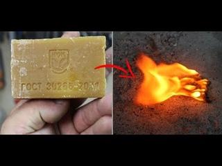 Мощный розжиг из хозяйственного мыла, который трудно потушить