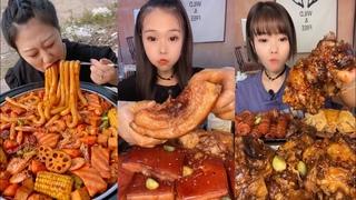 Chinese Mukbang:🍜 ASMR Eating Show ( Noodle Soup, Pork Fat, Beef )  китайская еда шоу #148🍖