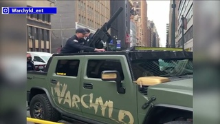 Police confiscate T-shirt launcher air rifle mounted on top of Hummer in Manhattan
