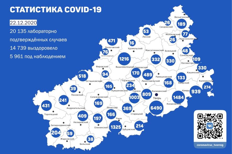 233 человека заболели коронавирусом в Тверской области к 22 декабря