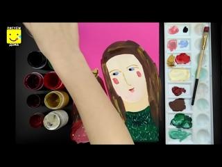 Как нарисовать маму Пошаговый урок рисования красками для детей от 4 лет