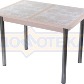 Стол кухонный Каппа ПР ВП МД 02 пл 32, молочный дуб, плитка с цветами