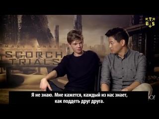 "[TBSubs] Интервью ""Yahoo"" с кастом ""Maze Runner: The Scorch Trials"" (Томас, Ки Хон, Дилан, Кая) (рус.саб)"