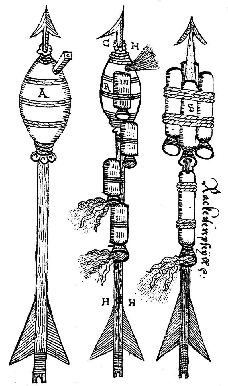 Ракеты XVI века: пилотируемые, многоступенчатые и с соплами, изображение №11