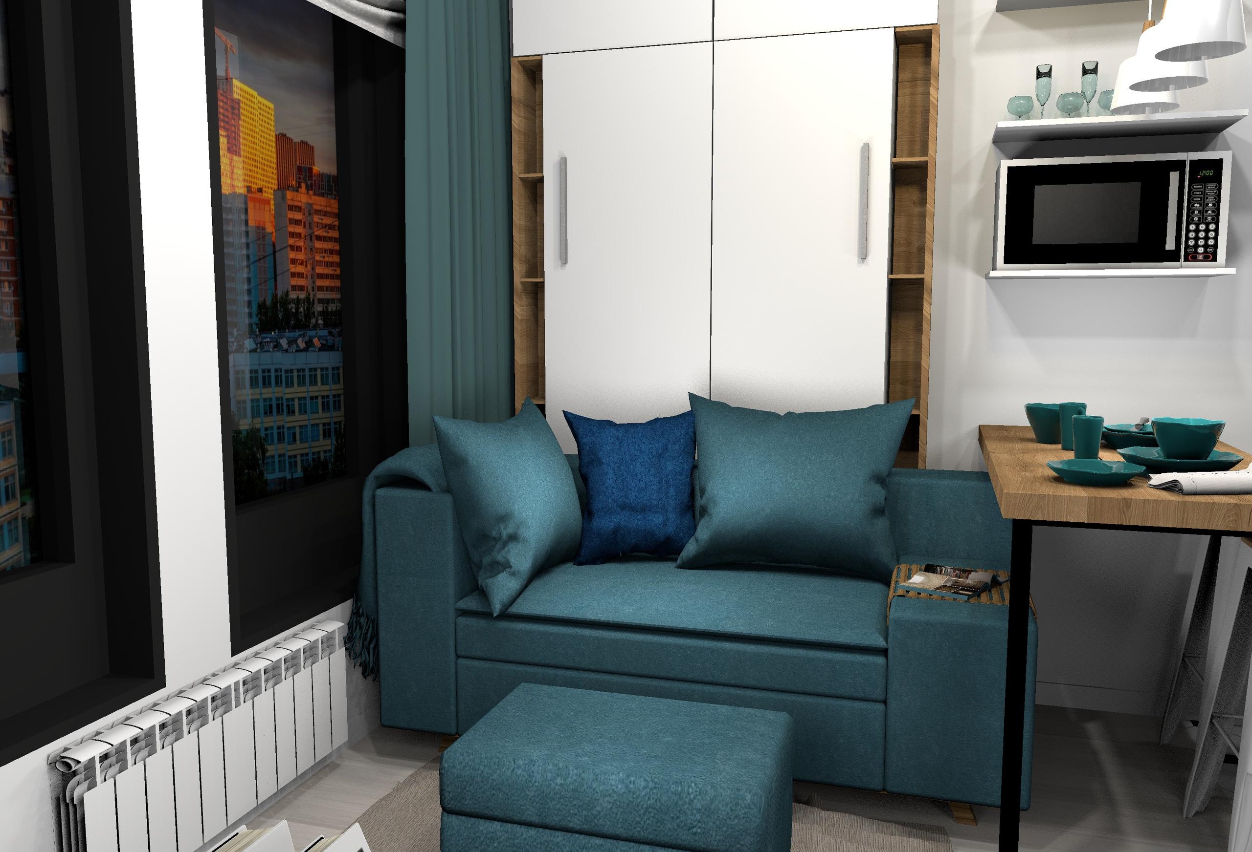Проект маленькой, но уютной студии, жилые апартаменты 20 м/2.