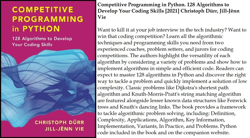 Competitive Programming in Python. 128 Algorithms to Develop Your Coding Skills...