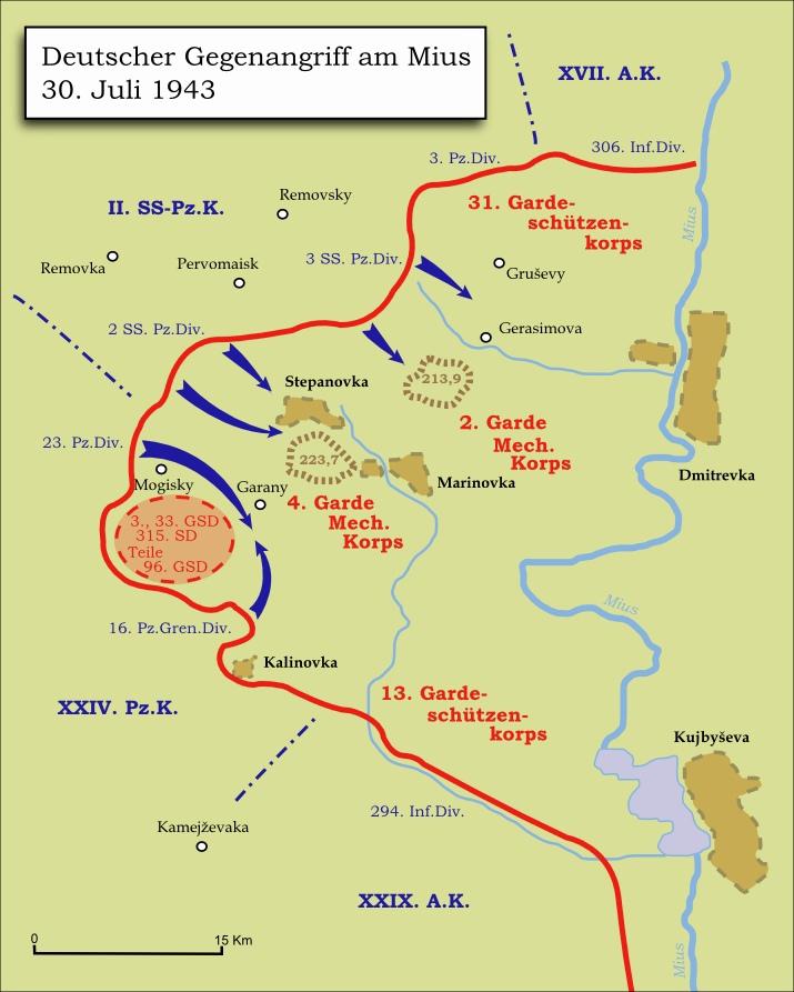Немецкая контратака на советские части у реки Миус 30 июля 1943. Memnon335bc • CC BY-SA 3.0https://de.wikipedia.org/wiki/Donez-Mius-Offensive