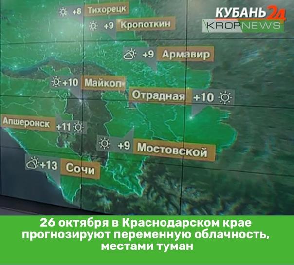26 октября в Краснодарском крае прогнозируют перем...