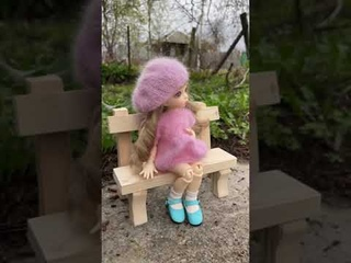 My LittleFee doll in her knitting suit chilling on the bench #shorts