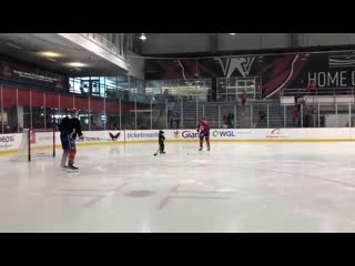 John carlson and his son lucca out on the ice after practice with jakub vrana.