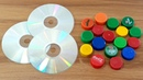 AMAZING CRAFTING OUT OF OLD CD DISC PLASTIC BOTTLE CAPS   AWESOME DECORATION IDEA 2020