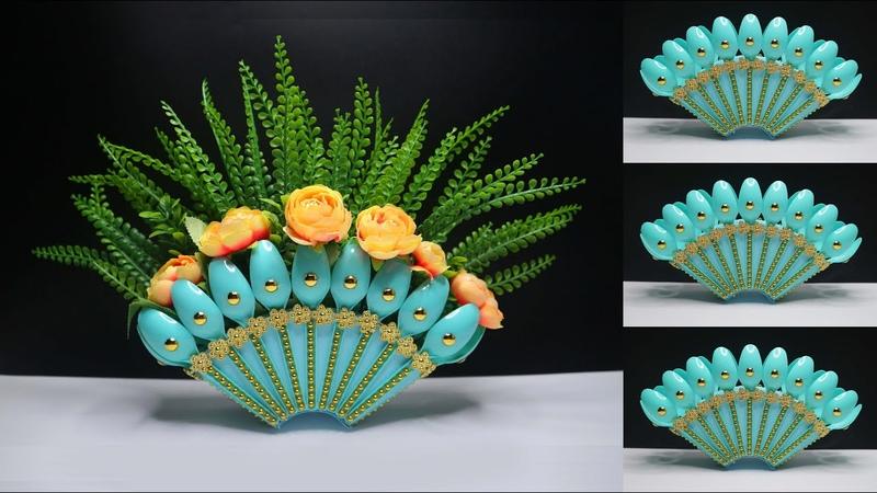 Ide Kreatif Vas bunga dari Sendok Plastik bekas ! kreasi barang bekas | Plastic spoon flower vase