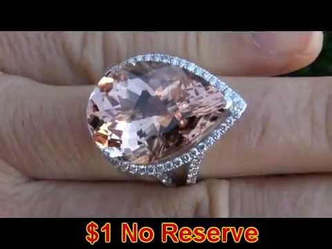 RARE 22.83 Carat Brazilian Morganite Diamond Ring Solid 14K Gold