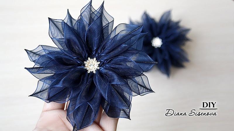 Резинки для волос из органзы Канзаши МК DIY Kanzashi Scrunchy