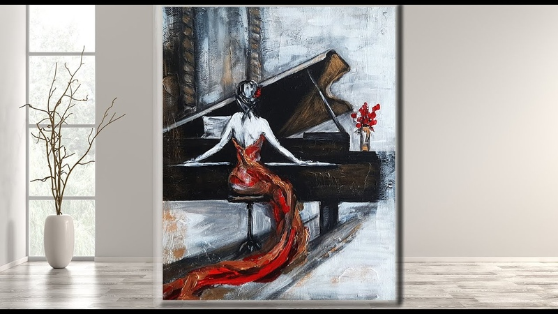 Step by Step Painting for Beginners The Piano Acrylic Tutorial MariArtHome