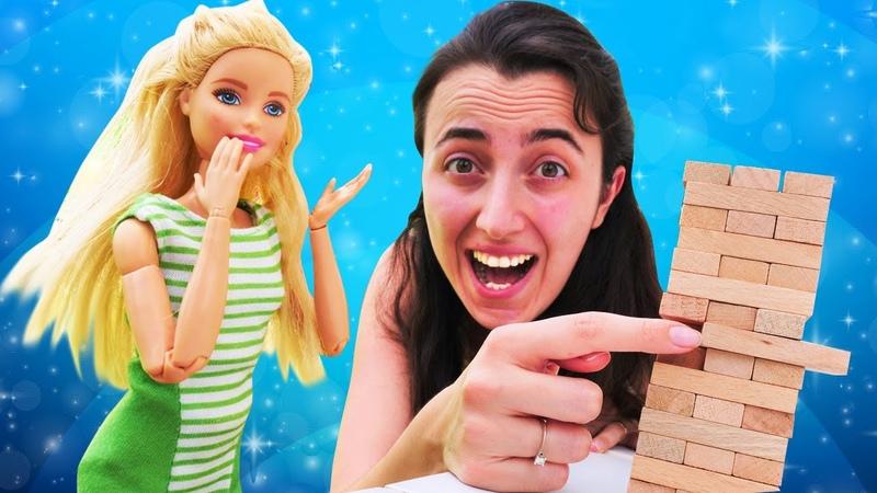 Barbie kız oyunları. Sevcan Barbie ile jenga oynuyor