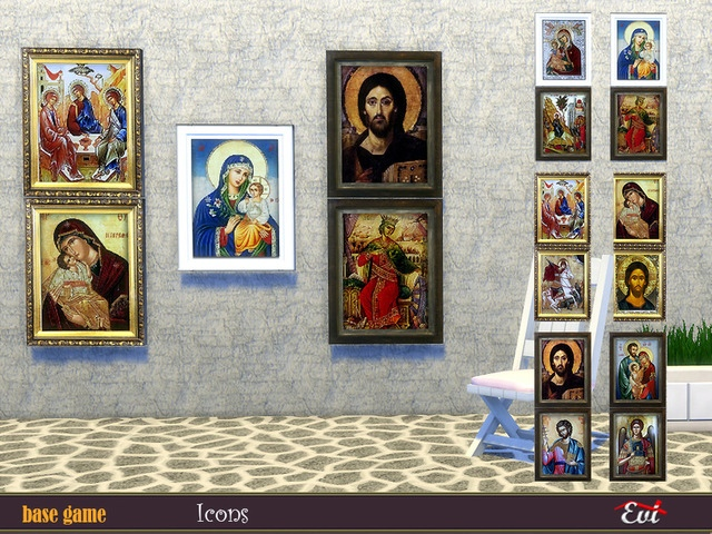Byzantine Icons Византийские иконы для The Sims 4 Традиционные иконы, которые можно найти в небольших греческих церквях Эгейского моря. Автор: Evi