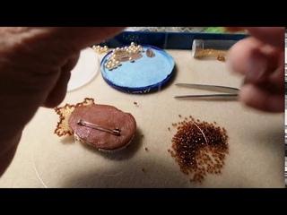 Марафон. Вышиваем брошь вместе. 3 этап. Оформление задней части броши. Плетём элемент для подвесок.